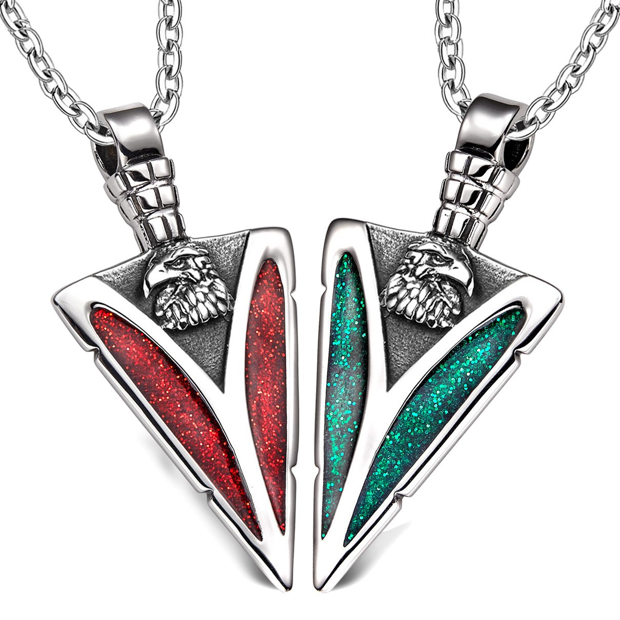 Arrowhead Wild American Eagle Head Love Couples BFF Set Protection Amulets Sparkling Red Green Necklaces