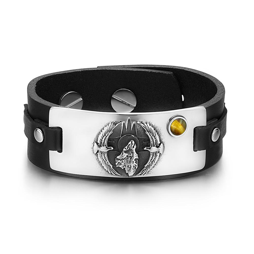 Howling Wolf Wild American Eagles Amulet Tag Tiger Eye Gemstone Adjustable Black Leather Bracelet