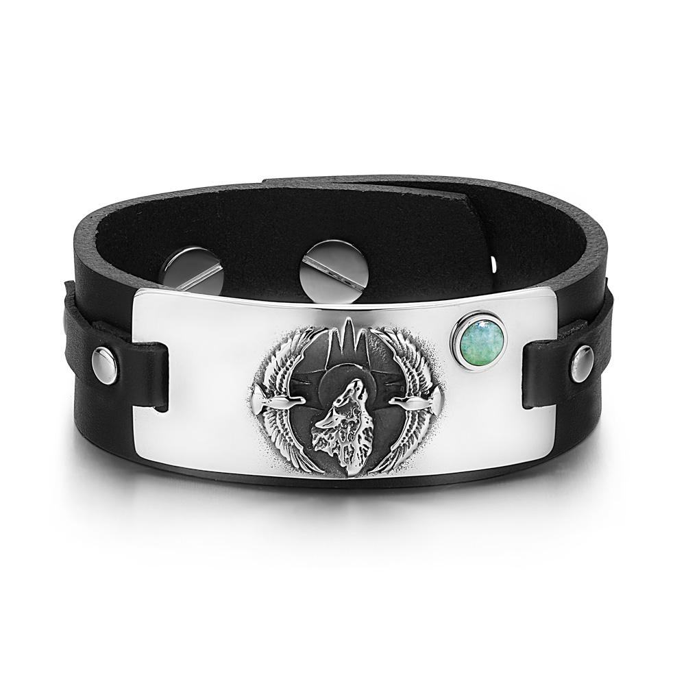 Howling Wolf Wild American Eagles Amulet Tag Green Quartz Gemstone Black Leather Bracelet