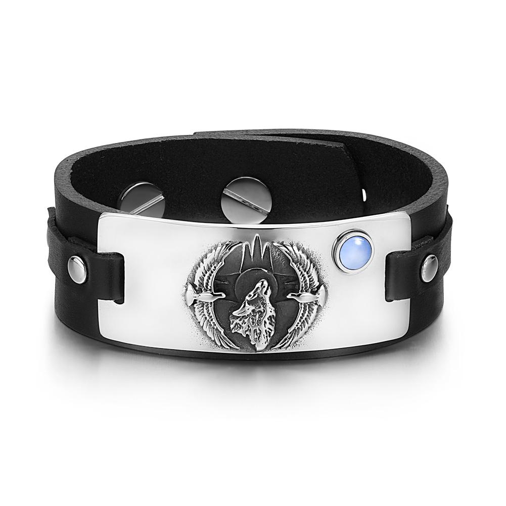 Howling Wolf Wild American Eagles Amulet Tag Blue Simulated Cats Eye Black Leather Bracelet