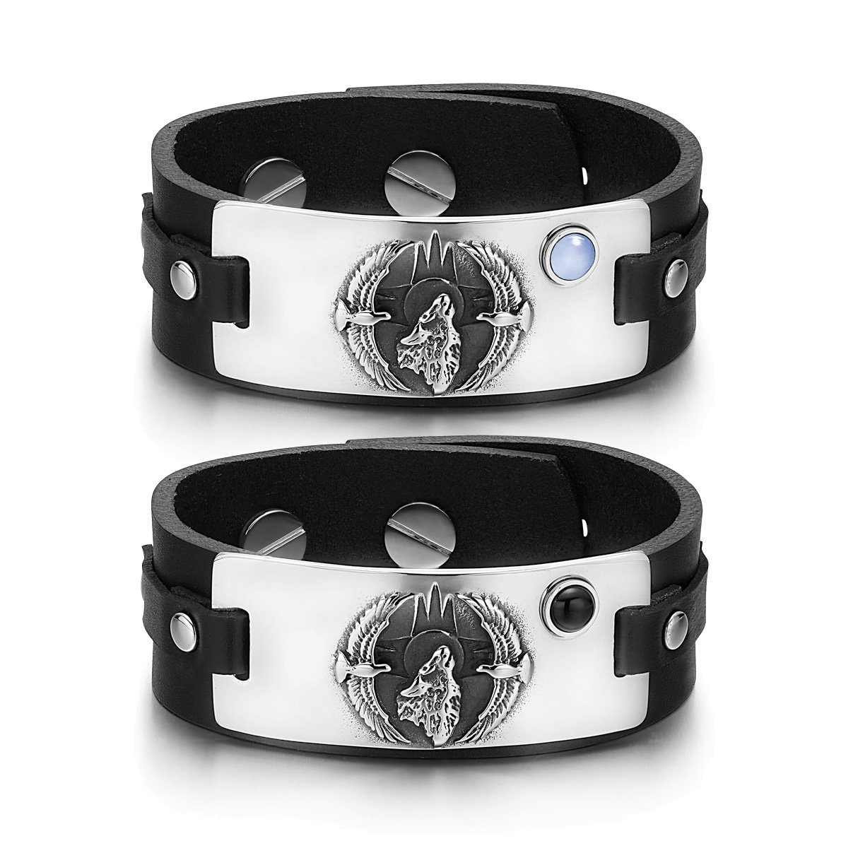 Howling Wolf American Eagles Couples Blue Simulated Cats Eye Simulated Onyx Black Leather Bracelets
