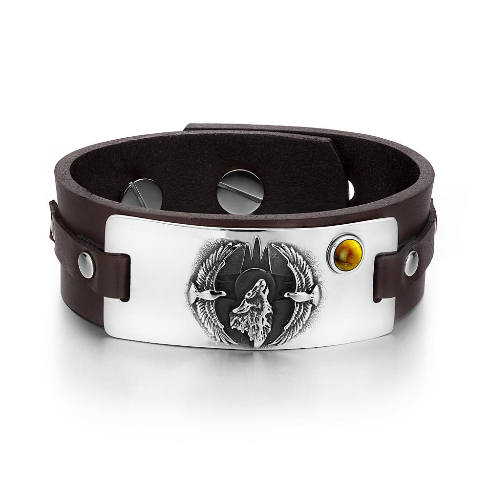 Howling Wolf Wild American Eagles Amulet Tag Tiger Eye Gemstone Dark Brown Leather Bracelet