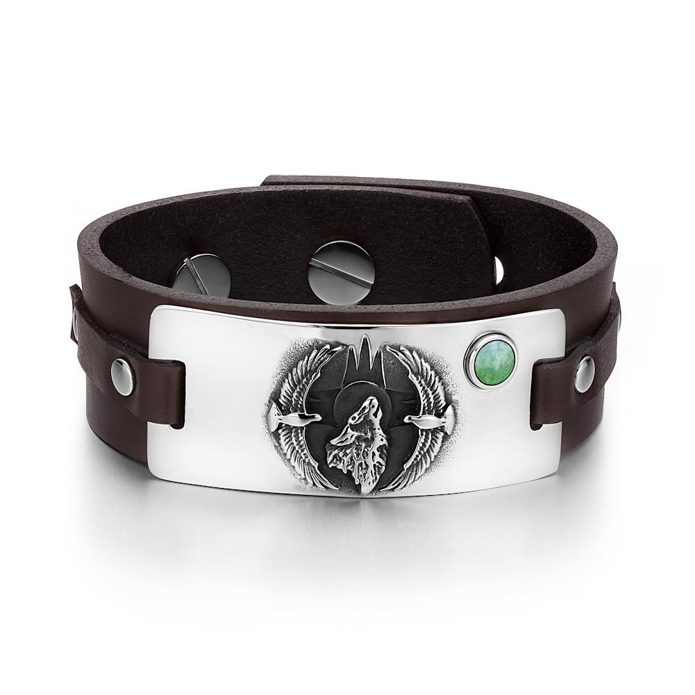 Howling Wolf Wild American Eagles Amulet Tag Green Quartz Gemstone Dark Brown Leather Bracelet