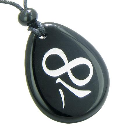 Magic Lucky Kanji Infinity Eight Symbol Spiritual Powers Amulet Black Onyx Totem Necklace Pendant