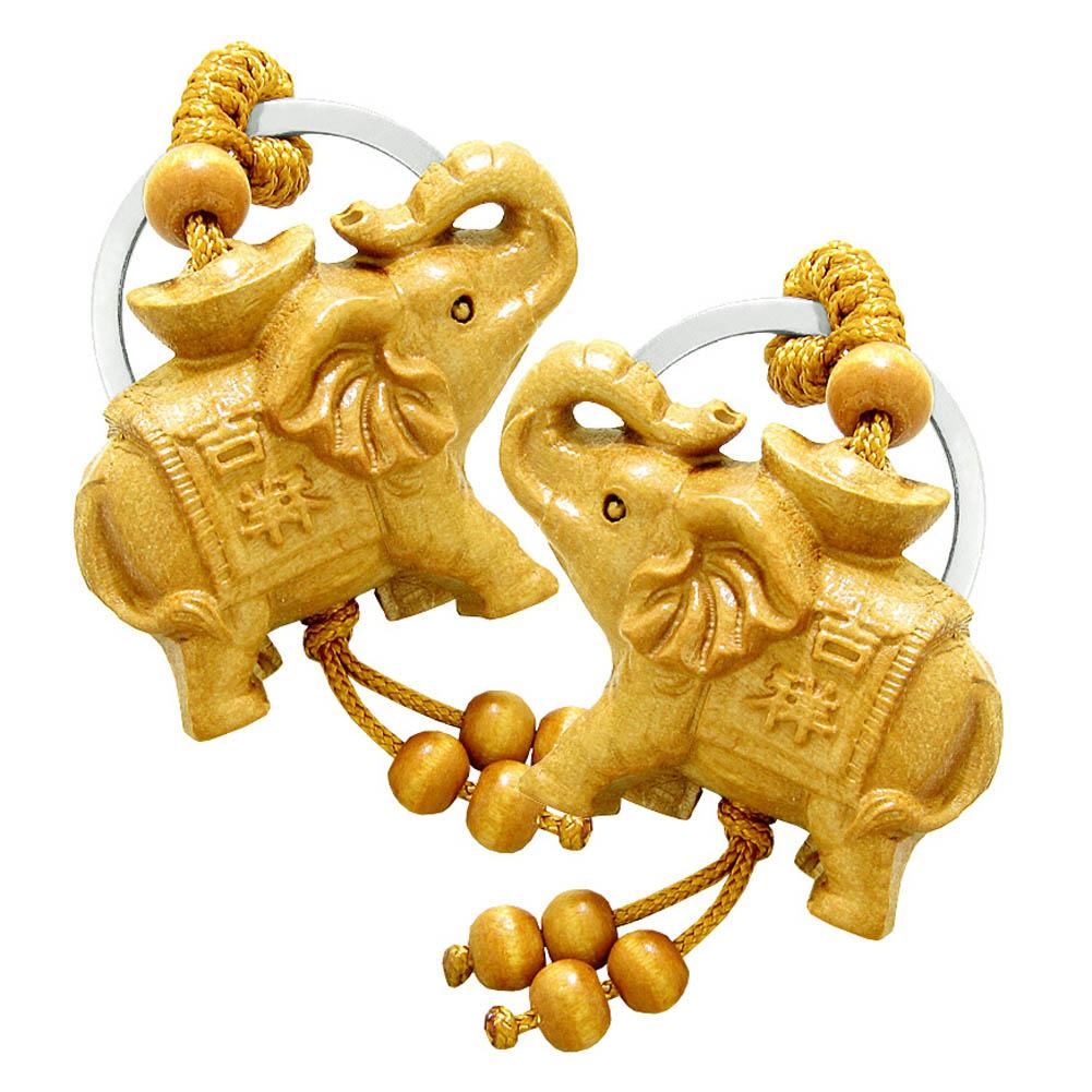Amulet Magical Money Ingot Elephant Good Luck Protection Powers Feng Shui Magical Keychain Set Blessings