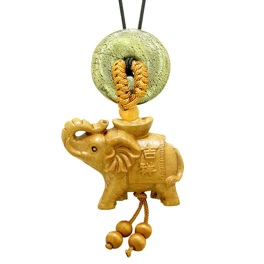Good Luck Elephant Money Ingot Car Charm or Home Decor Golden Pyrite Iron Lucky Coin Donut Amulet