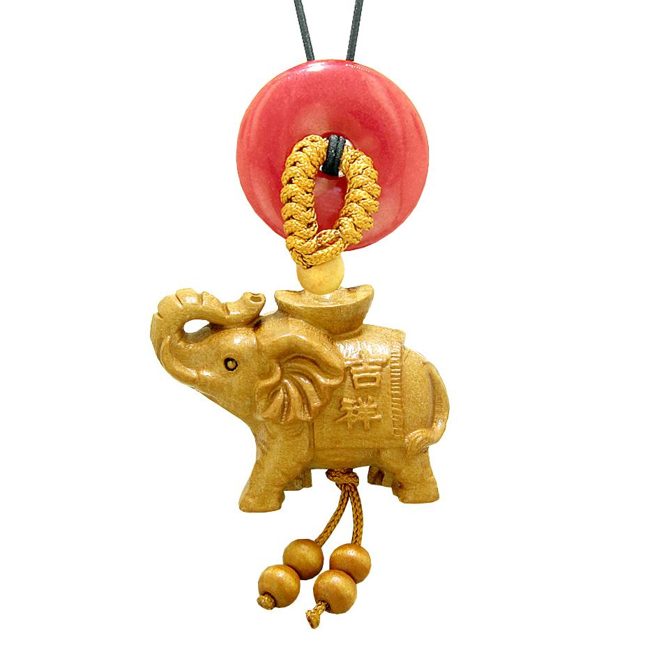 Good Luck Elephant Money Ingot Car Charm or Home Decor Red Quartz Lucky Coin Donut Protection Amulet