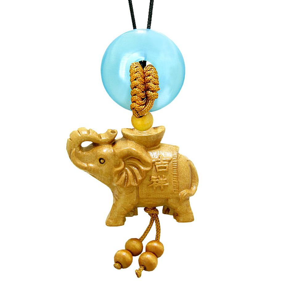 Good Luck Elephant Money Ingot Car Charm or Home Decor Blue Simulated Cats Eye Lucky Coin Donut Amulet