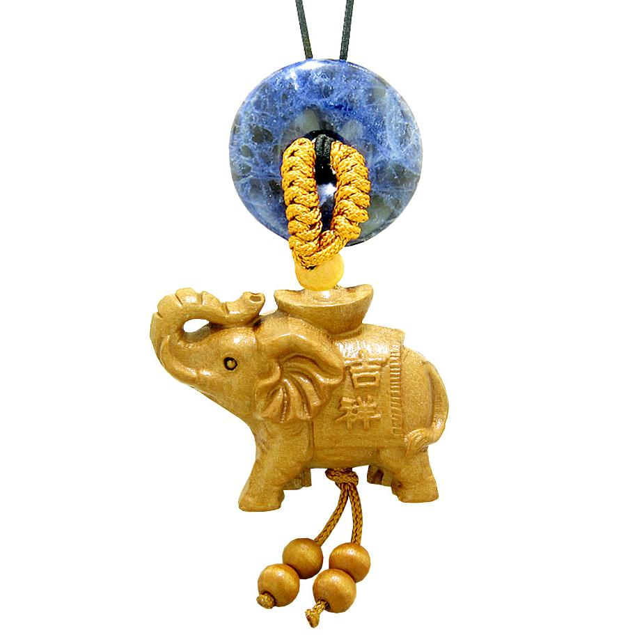 Good Luck Elephant Money Ingot Car Charm or Home Decor Sodalite Lucky Coin Donut Protection Amulet