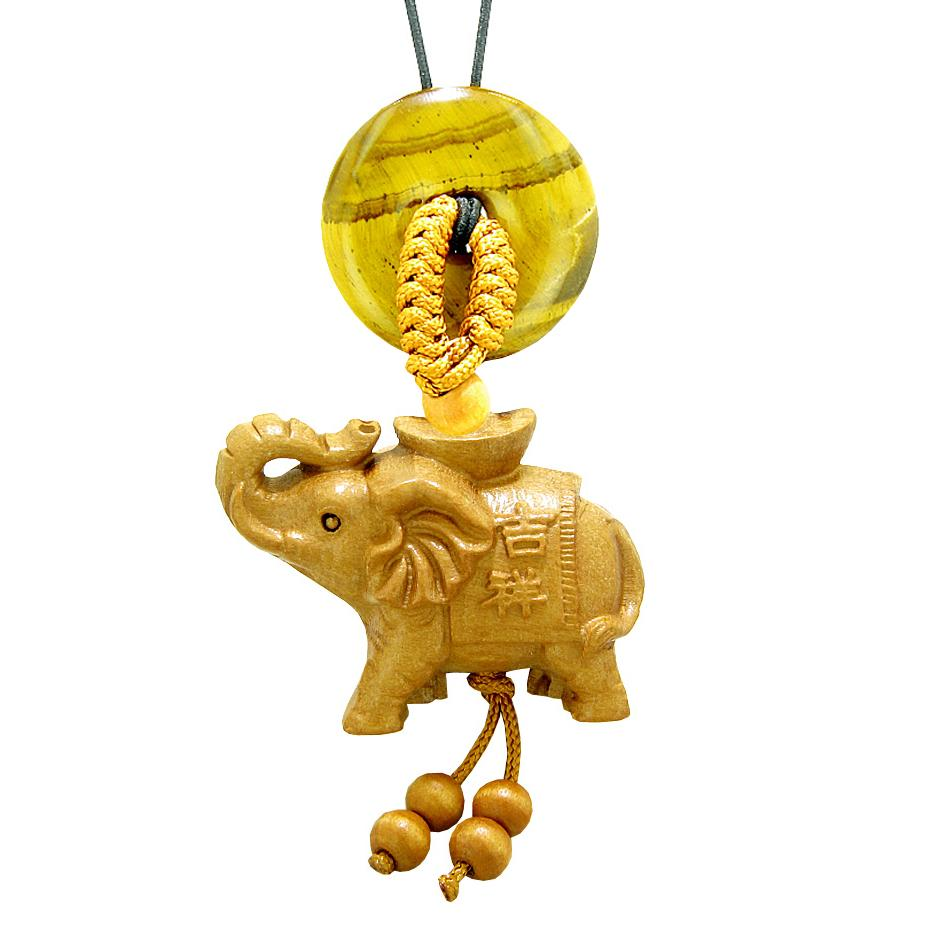 Good Luck Elephant Money Ingot Car Charm or Home Decor Tiger Eye Lucky Coin Donut Protection Amulet