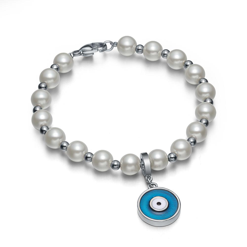 Amulet Positive Powers Simulated Pearl White Royal Blue Evil Eye ProtectiMagic Energy Bracelet