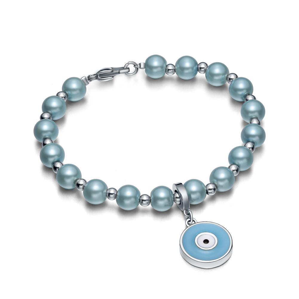 Amulet Positive Powers Simulated Pearl Cute Sky Blue White Evil Eye ProtectiMagic Energy Bracelet