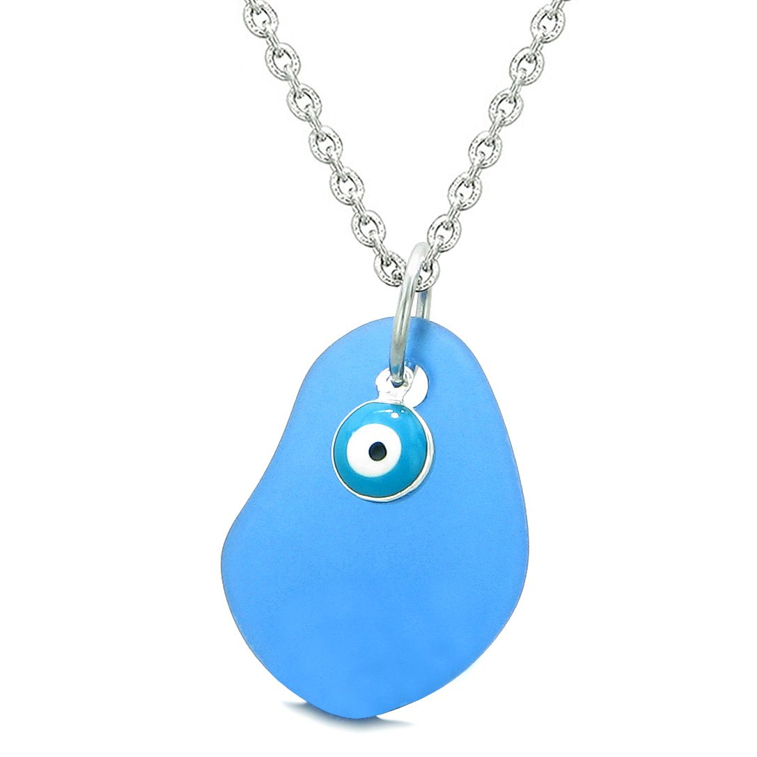 Handcrafted Sea Glass Ocean Blue Amulet Evil Eye Protection Lucky Charm Magic Powers 18 Inch Necklace