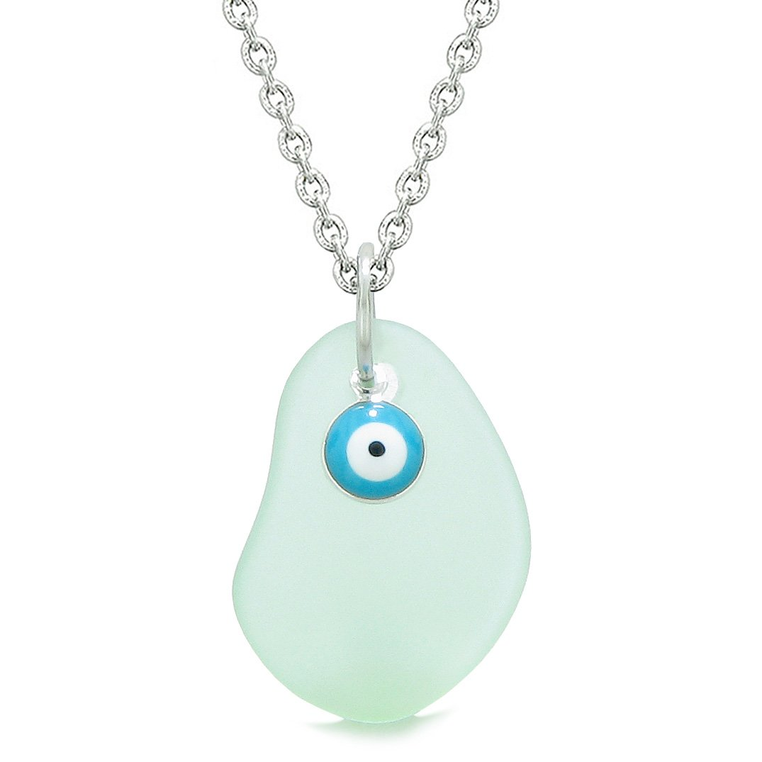 Handcrafted Sea Glass Foam Green Amulet Evil Eye Protection Lucky Charm Magic Powers 18 Inch Necklace