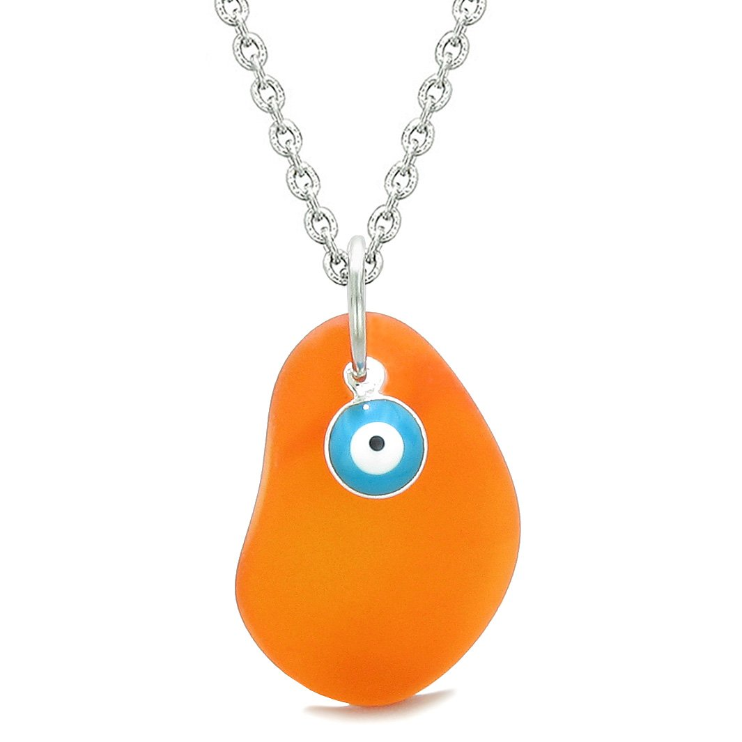 Handcrafted Sea Glass Royal Orange Amulet Evil Eye Protection Lucky Charm Magic Powers 18 Inch Necklace