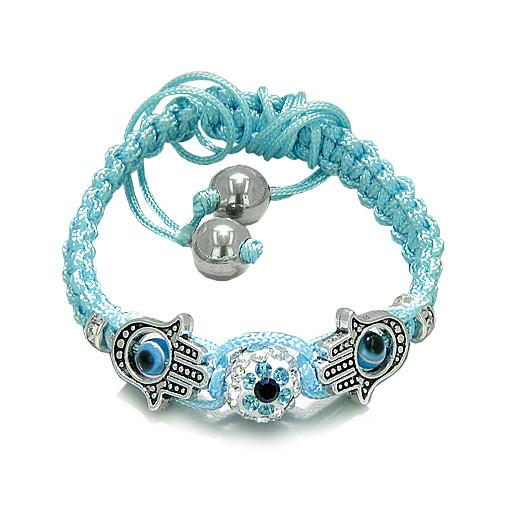 Evil Eye Protection Amulet Magic Eye Hamsa Hands Sky Blue Knotted Cord Bracelet with Hematite Beads
