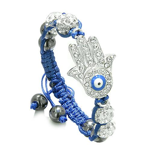Evil Eye Protection Amulet Magic Eye Hamsa HBracelet with Blue Cord Simulated Hematite Beads