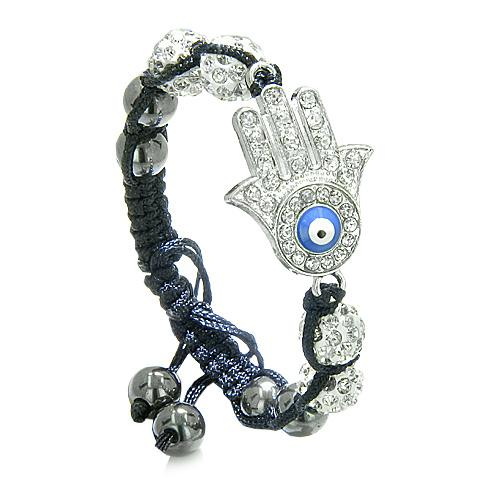 Evil Eye Protection Amulet Magic Eye Hamsa HBracelet with Black Cord Simulated Hematite Beads