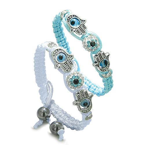Magic Evil Eye Protection Love Couple or Best Friends Hamsa Hands Amulet Sky Blue White Bracelets