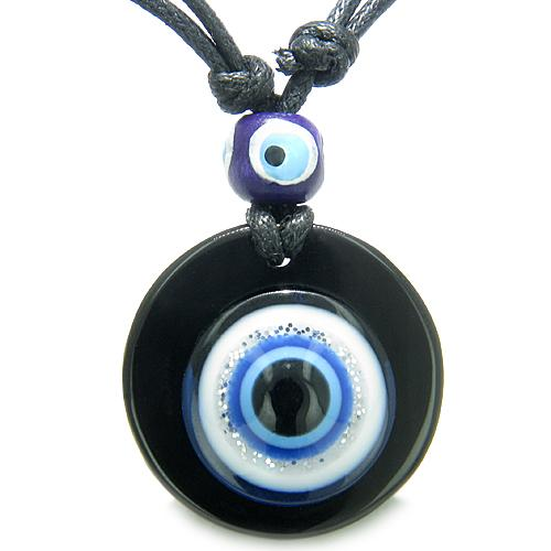 Amulet Evil Eye Reflection Protection Powers Spiritual Medallion Onyx Pendant Necklace