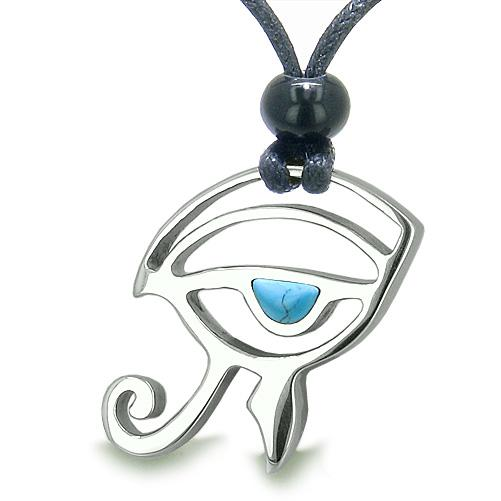 Amulet Eye of Horus All Seeing Egyptian Power of Life Turquoise Positive Magic Pendant Necklace