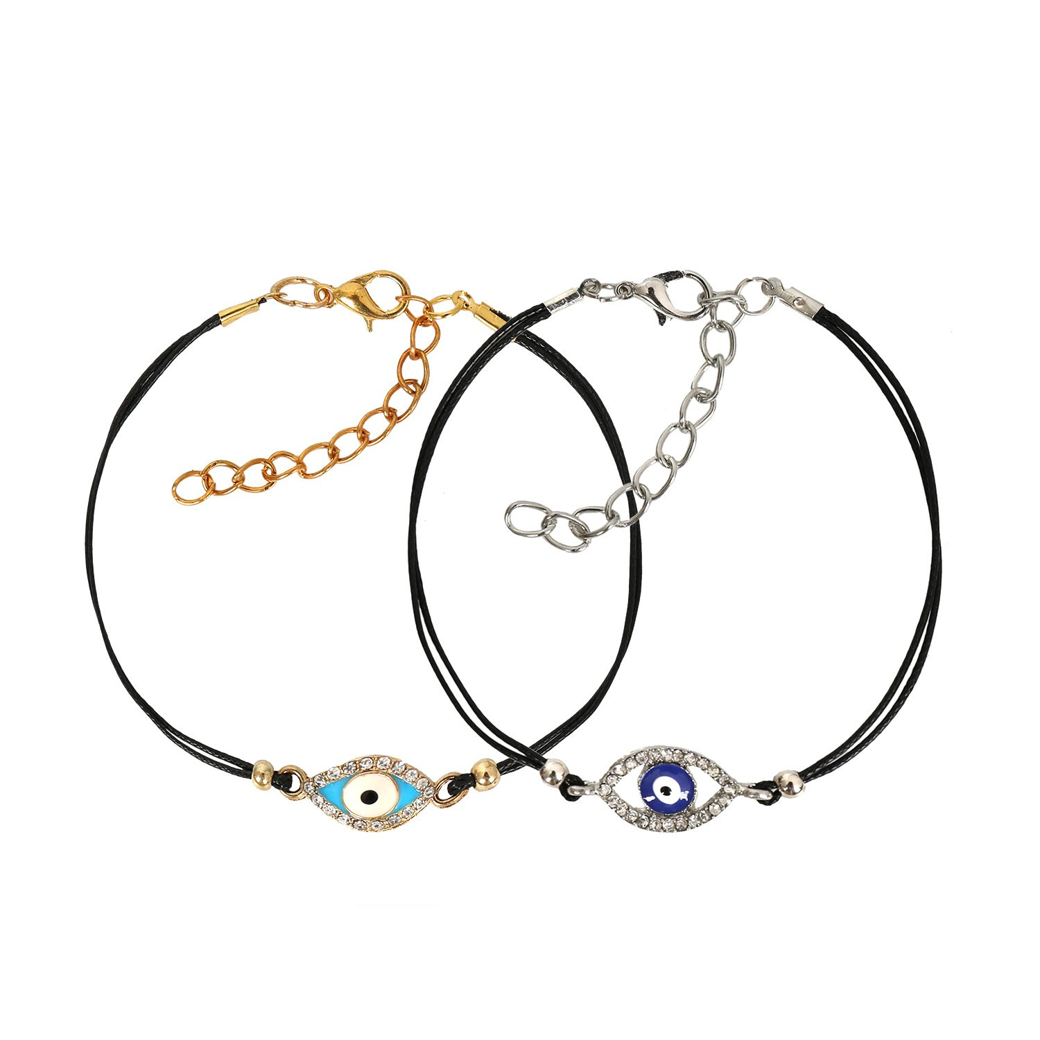 Evil Eye Protection Love Couples Amulets Set Sparkling Royal Sky Blue Crystals Elegant Bracelets
