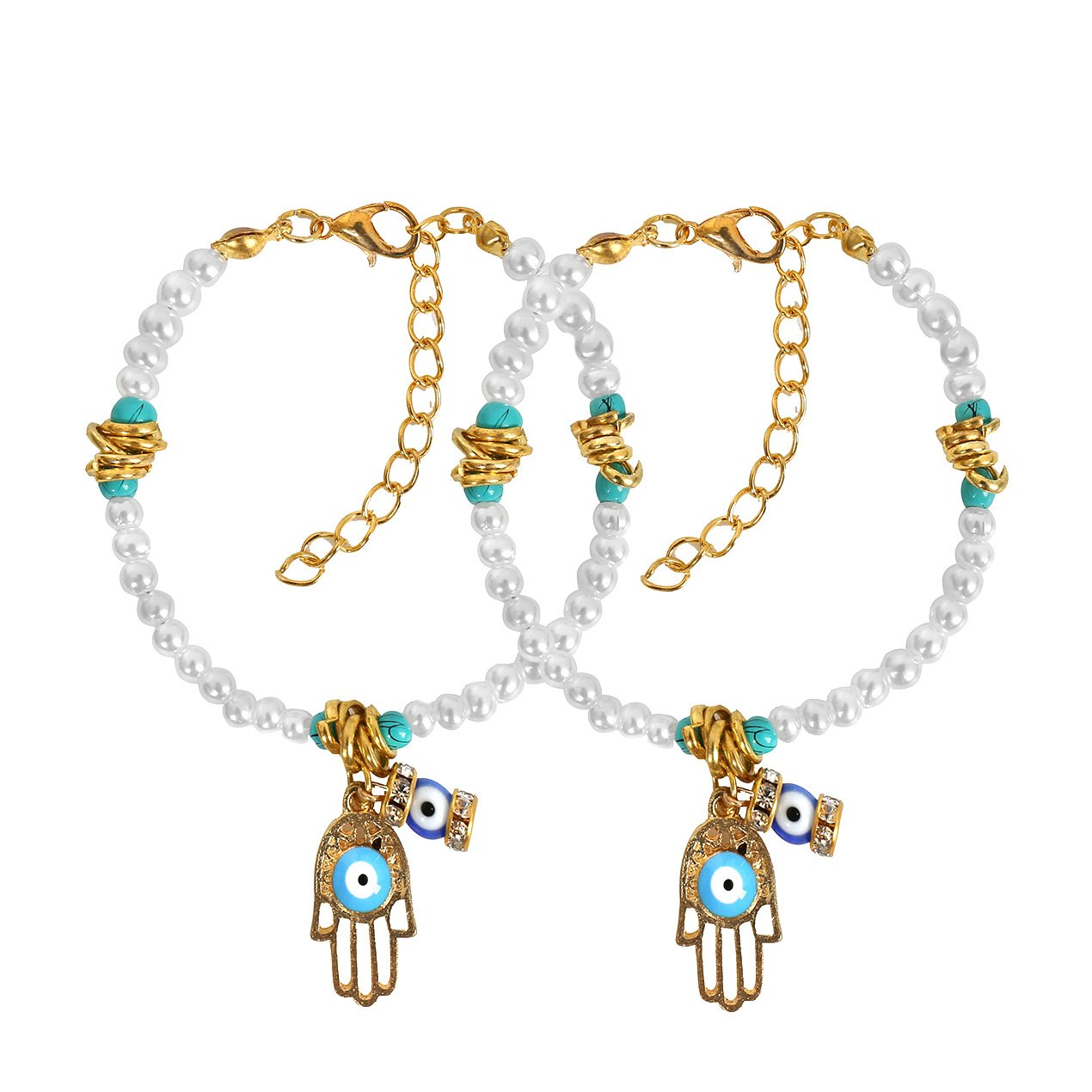 Evil Eye Protection Love Couples Amulets Set Hamsa HSimulated Pearls Gold-Tone Charm Bracelets