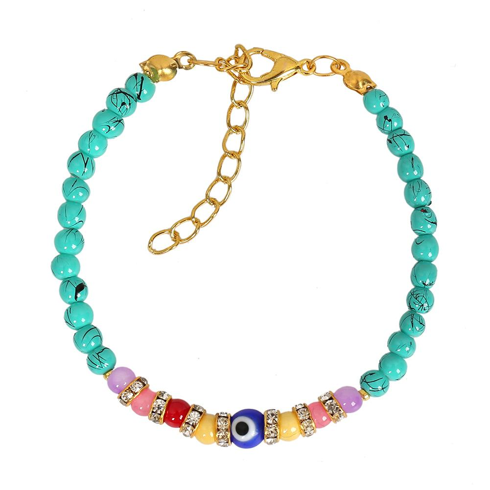 Evil Eye Protection Amulet Simulated Turquoise Colorful Crystal Accents Magic Lucky Charm Bracelet