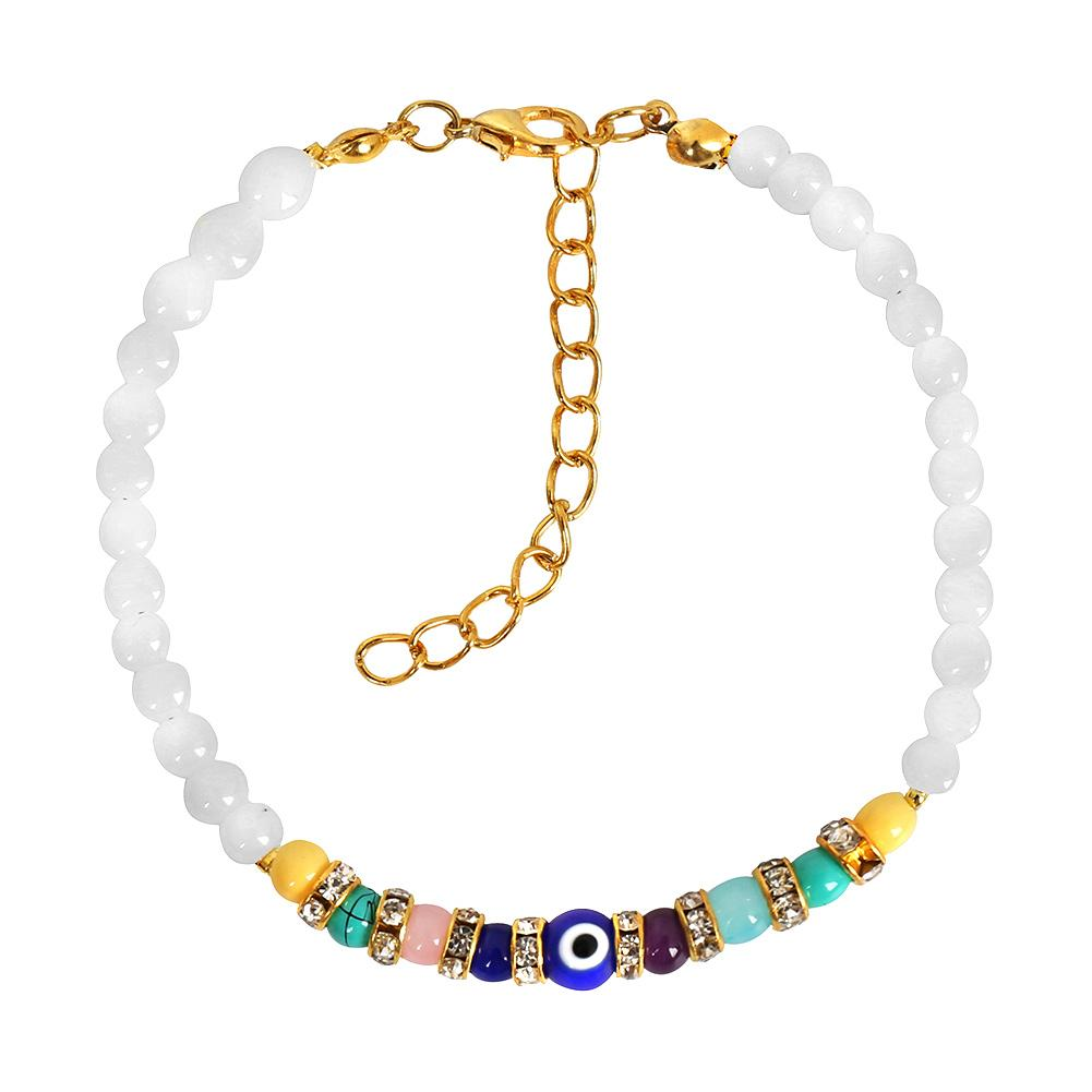 Evil Eye Protection Amulet Snow White Colorful Crystals Accents Magic Lucky Charm Bracelet