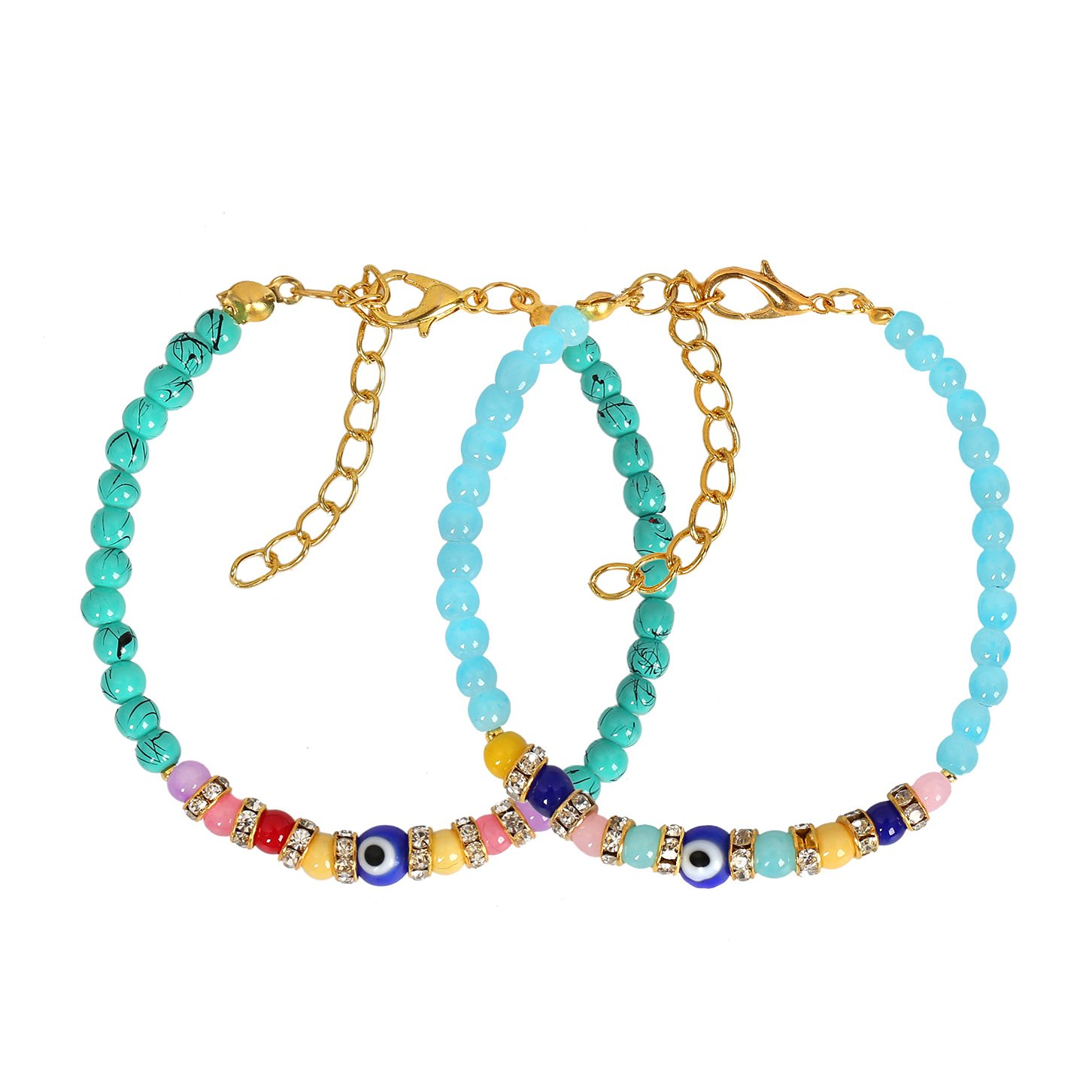 Evil Eye Protection Love Couples Amulets Set Simuled Turquoise Sky Blue Colorful Crystal Bracelets
