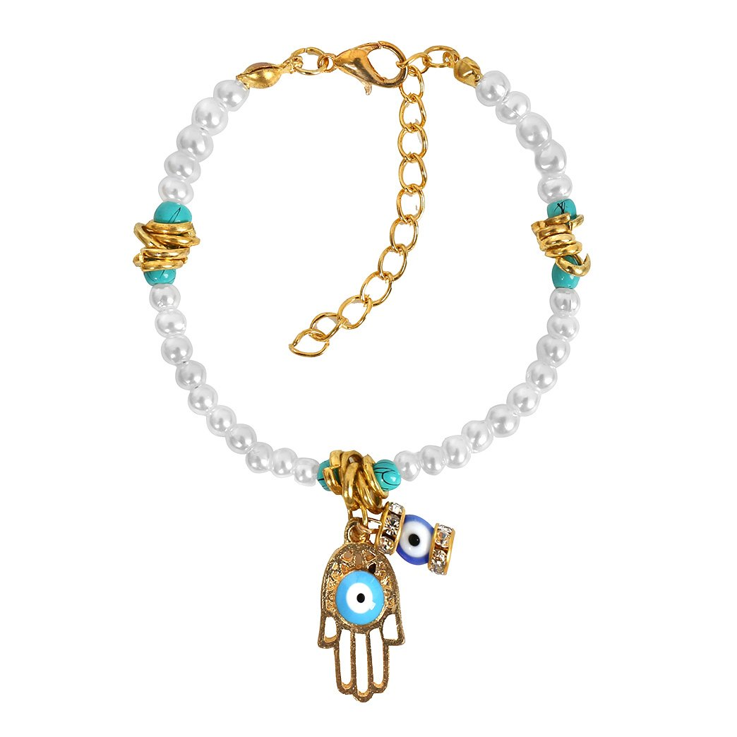 Evil Eye Protection Hamsa HAmulet Simulated White Pearl Simulated Turquoise Lucky Charms Bracelet