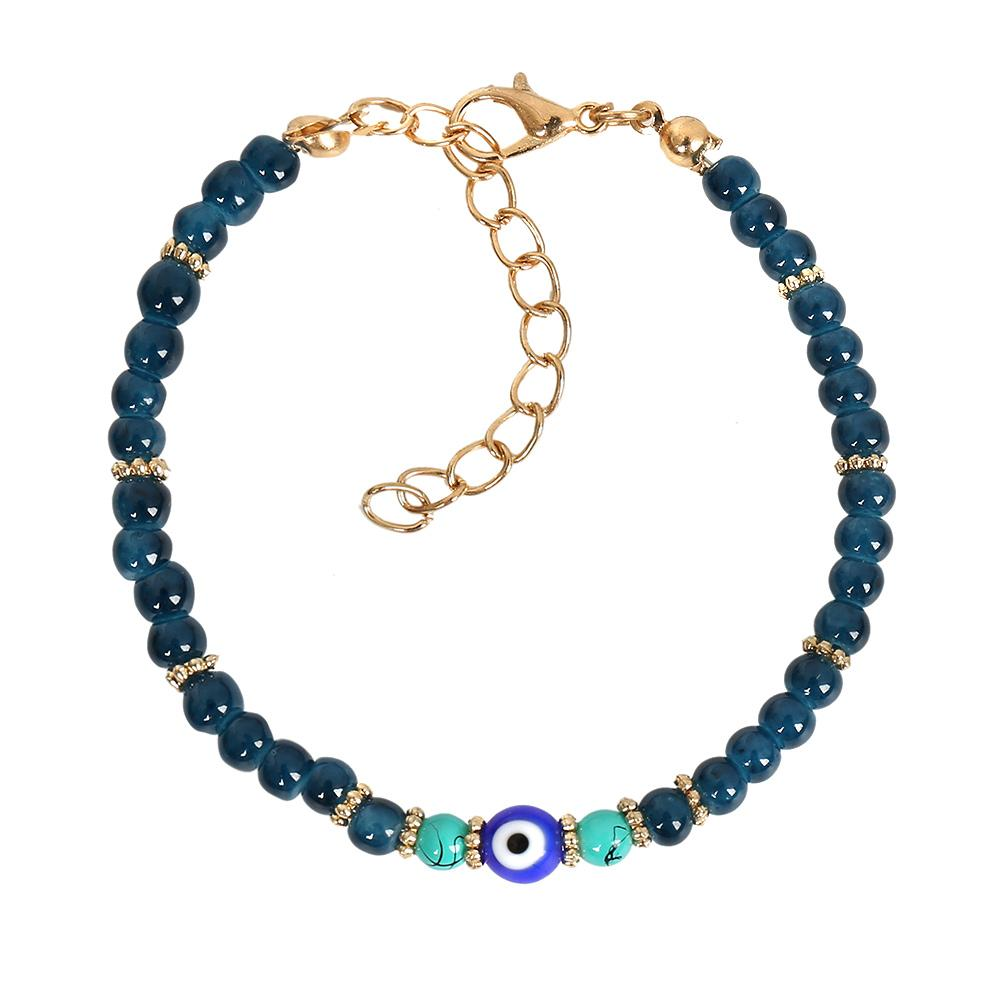Evil Eye Protection Amulet Simulated Turquoise Ocean Blue Accents Magic Power Lucky Charm Bracelet