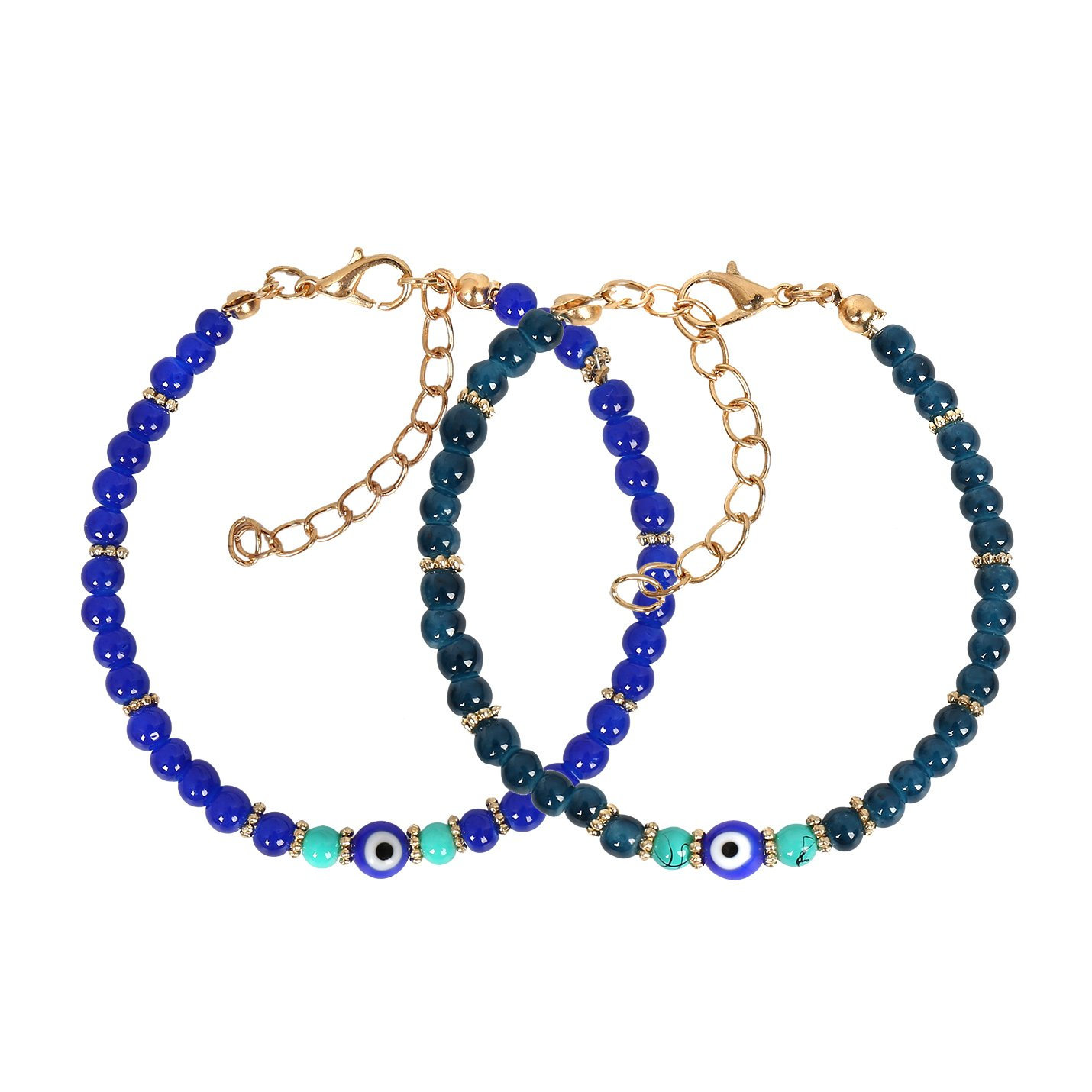 Evil Eye Protection Love Couples Amulets Set Royal Ocean Blue Simulated Turquoise Charm Bracelets