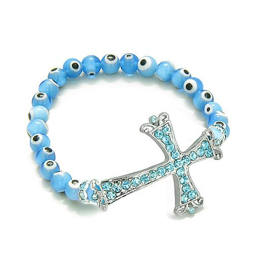 Amulet Evil Eye ProtectiMagic Cross Charm Spiritual Bracelet Swarovski Elements Blue Glass Beads