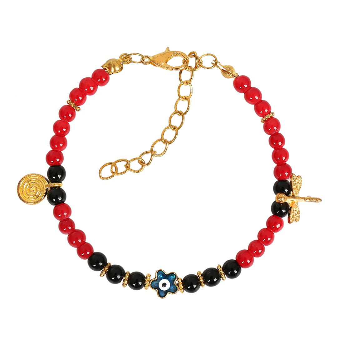 Evil Eye ProtectiStar Amulet Royal Red Black Accents Dragonfly Magic Symbol Lucky Charm Bracelet