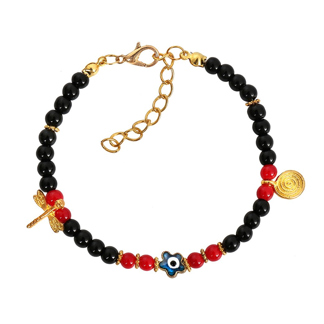 Evil Eye ProtectiStar Amulet Black Royal Red Accents Dragonfly Magic Symbol Lucky Charm Bracelet