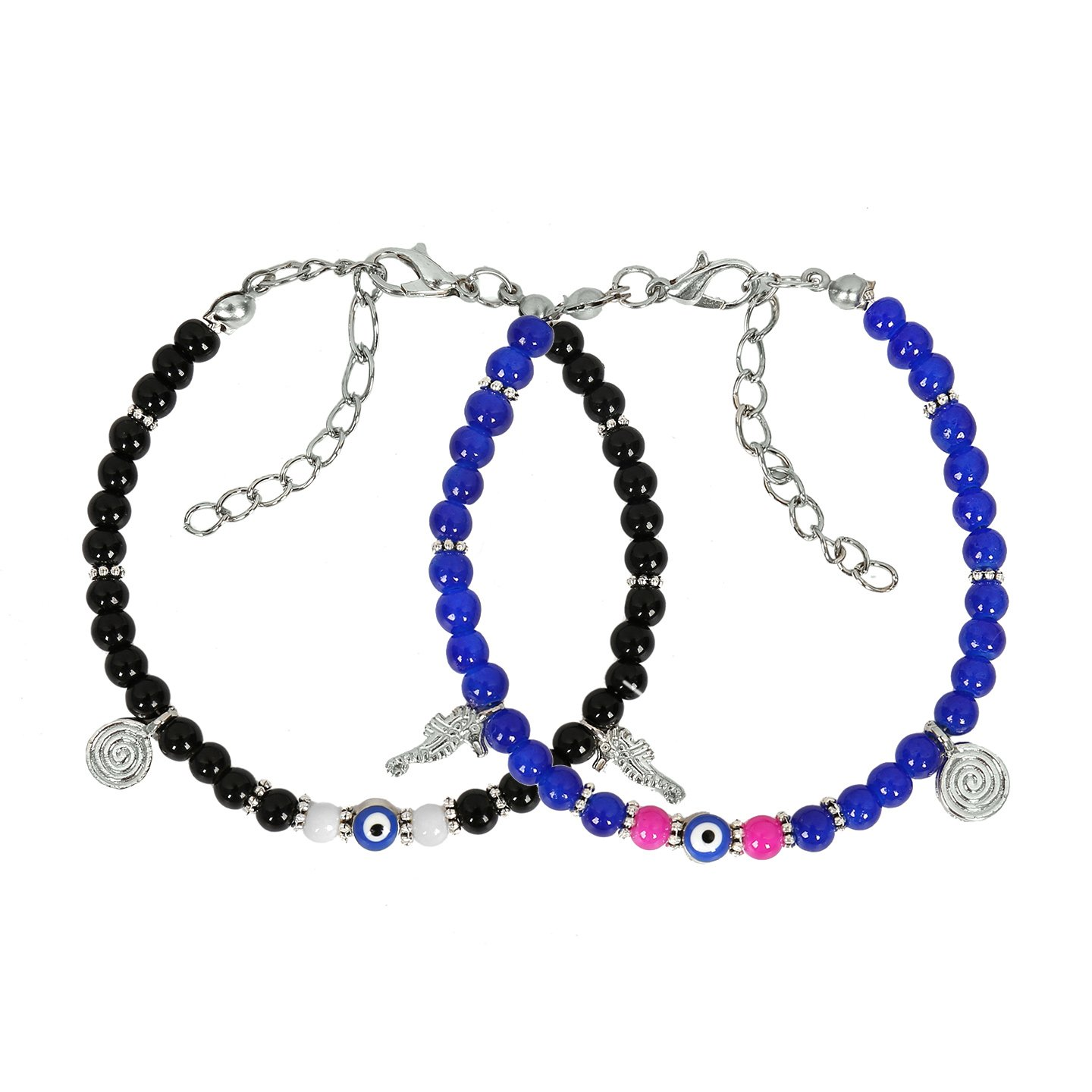 Evil Eye Protection Love Couples Amulets Set Royal Blue Pink Black Sea Horse Power Bracelets