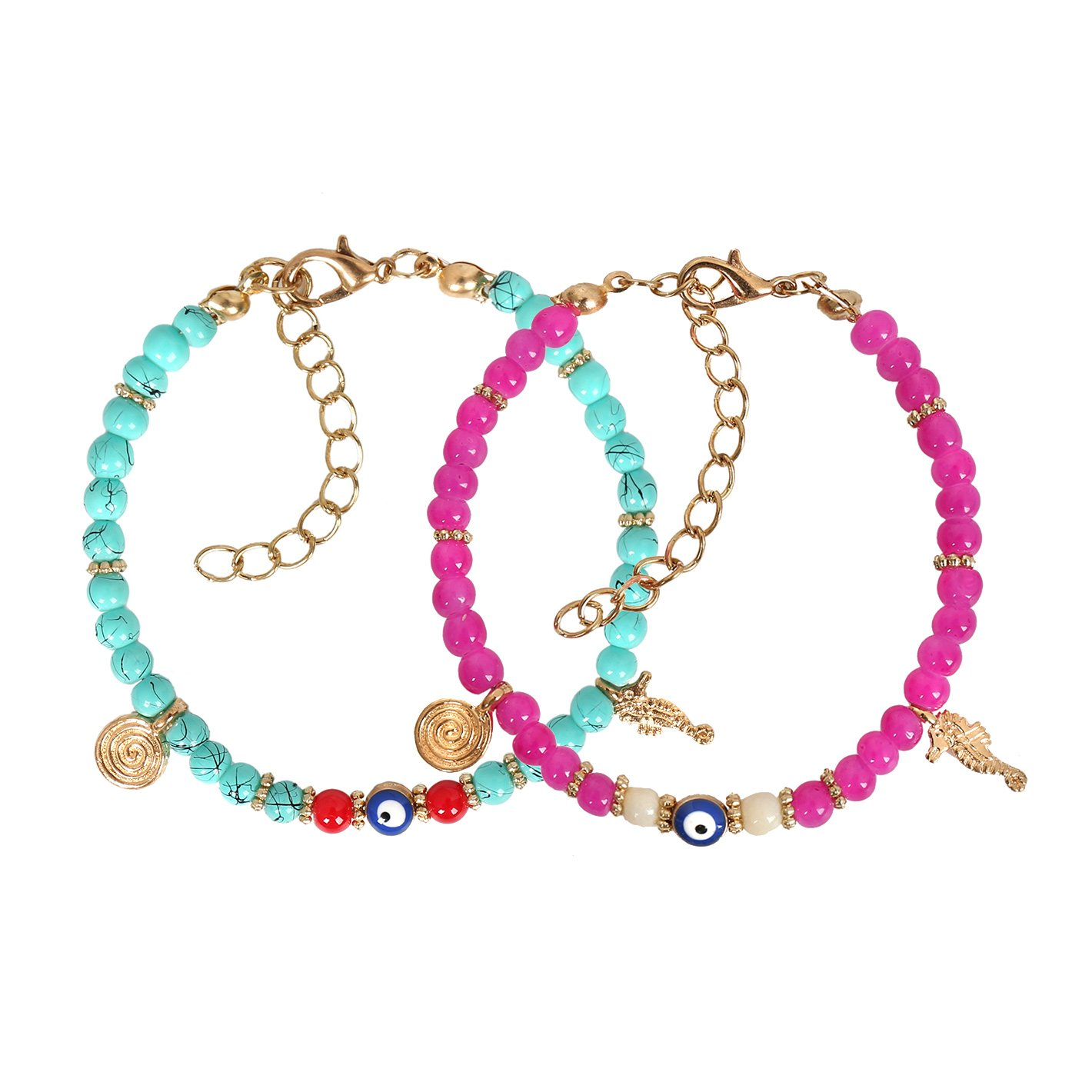 Evil Eye Protection Love Couples Amulets Set Simulated Turquoise Pink Sea Horse Power Bracelets