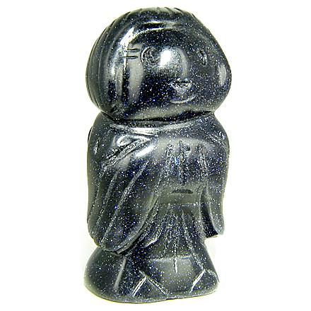 Talisman Good Luck Blue Goldstone Praying Angel Gemstone Carving