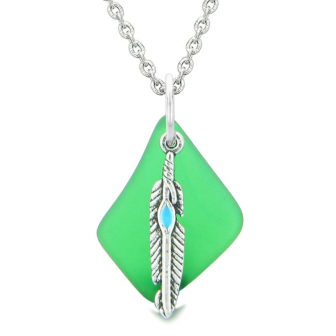 Handcrafted Free Form Sea Glass Ocean Green Amulet Arrowhead Shaped Feather Magic Powers 18 Inch Necklace
