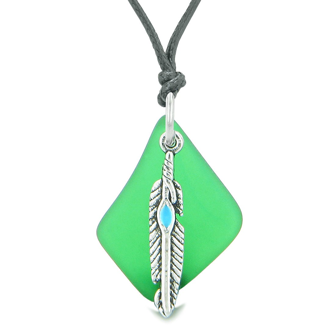 Handcrafted Free Form Sea Glass Ocean Green Amulet Arrowhead Shaped Feather Magic Powers Adjustable Necklace