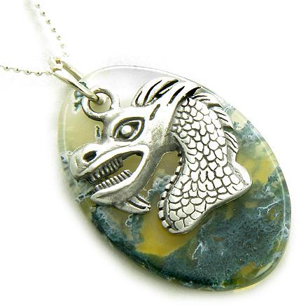 Fortune Courage Dragon Moss Agate Amulet On Silver Necklace