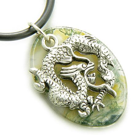 Fortune Protection Dragon Moss Agate Amulet on Rubber Necklace