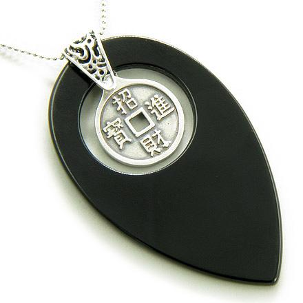 Lucky Coin Magic Amulet Black Onyx 925 Silver Pendant Necklace