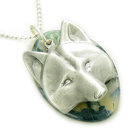 Protection Wolf Mask Amulet Green Moss Agate and Silver Necklace