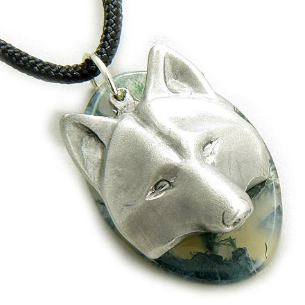 Protection Wolf Mask Amulet Green Moss Agate Pendant Necklace