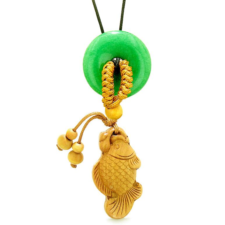 Fortune Fish Magic Car Charm or Home Decor Green Quartz Lucky Coin Donut Protection Powers Amulet
