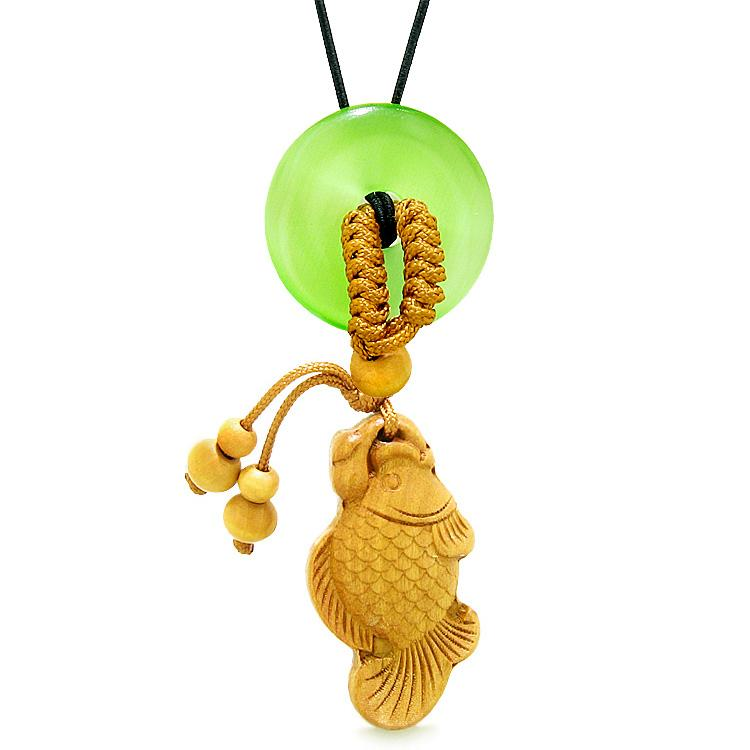 Fortune Fish Magic Car Charm Home Decor Green Simulated Cats Eye Lucky Coin Donut Protection Amulet