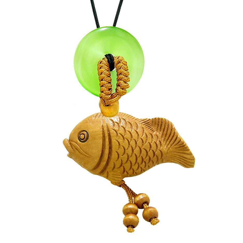 Fortune Cute Fish Car Charm or Home Decor Simulated Green Cats Eye Lucky Coin Donut Protection Amulet