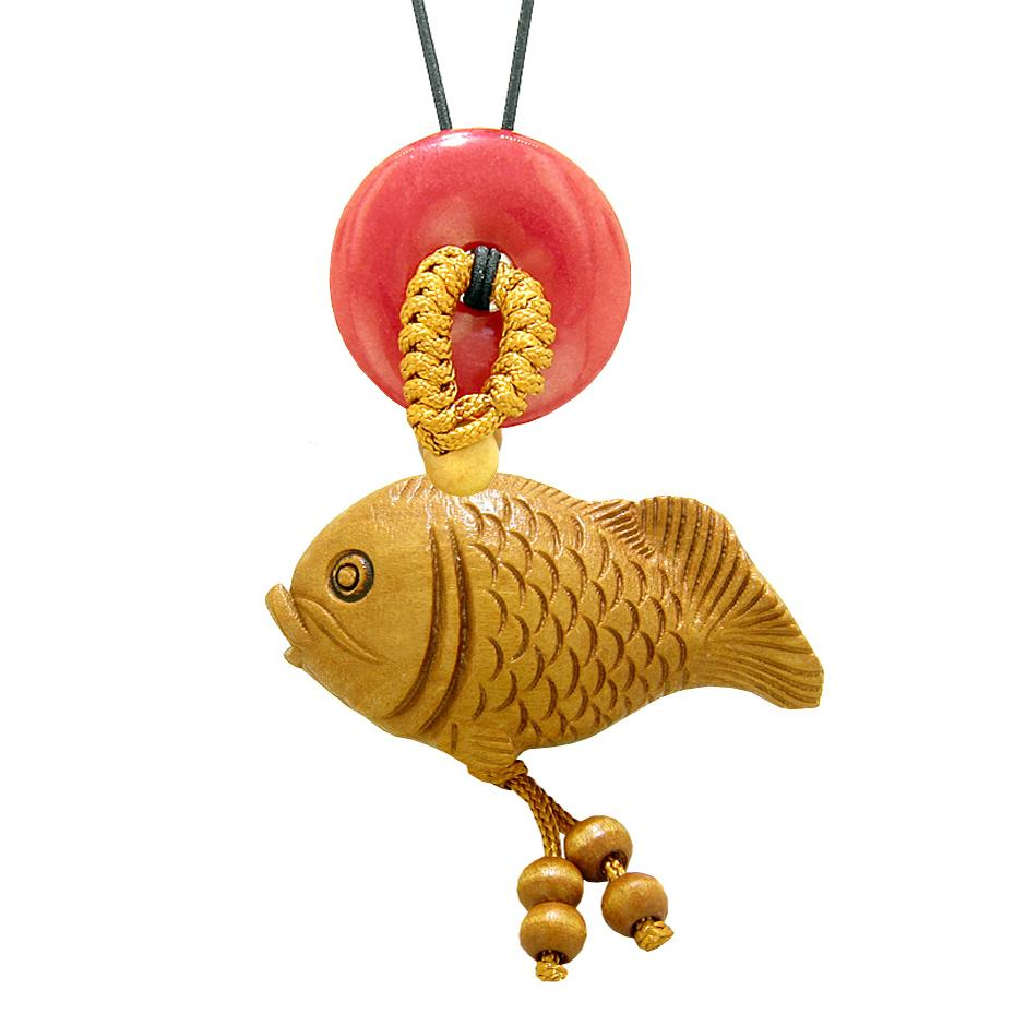 Fortune Cute Fish Car Charm or Home Decor Red Quartz Lucky Coin Donut Protection Powers Magic Amulet